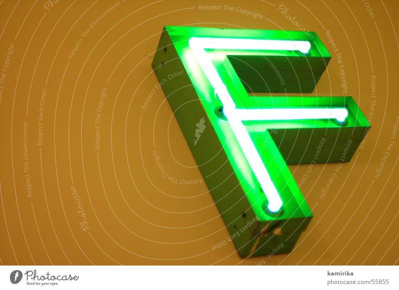 f*** die 2te grün Lampe Wand Schriftzeichen Buchstaben Werbung Neonlicht glühen Leuchtreklame