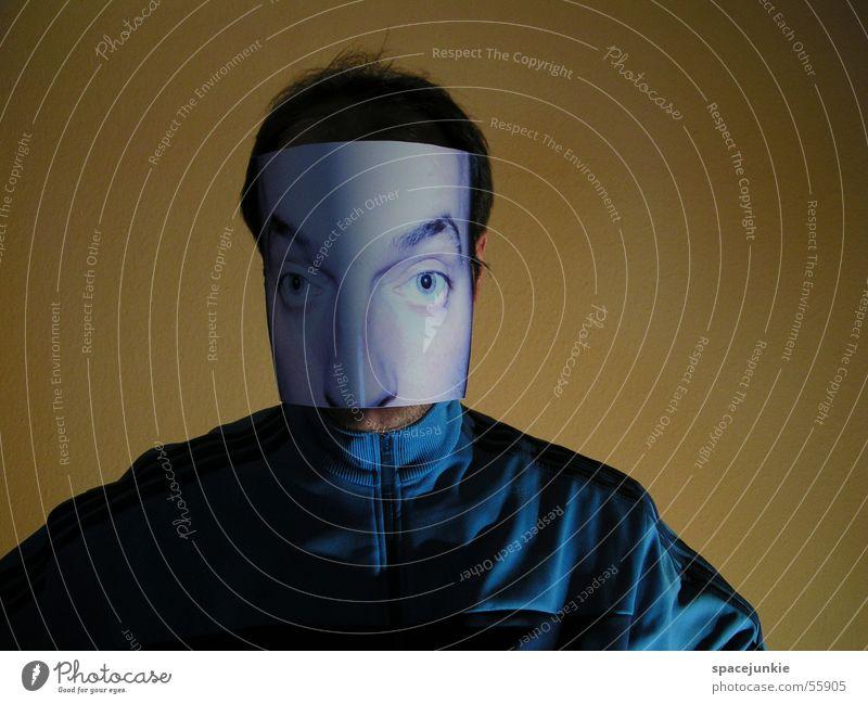 HUI BUH! blau Gesicht Auge gelb Wand Maske Trainingsjacke