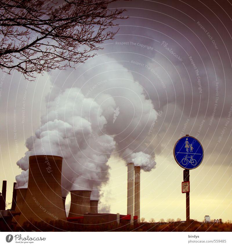 Flachatmungstrigger Himmel Wolken dunkel Umwelt Herbst dreckig Schilder & Markierungen Energiewirtschaft bedrohlich Ast Industrie Zeichen Rauchen Rauch Handel Klimawandel