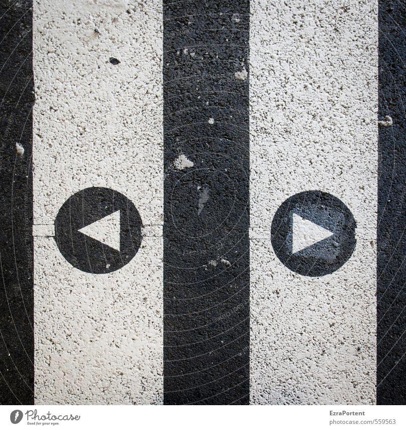 Entscheidung Stil Kunst Verkehr Straße Wege & Pfade Zeichen Schilder & Markierungen Hinweisschild Warnschild Verkehrszeichen Linie Pfeil schwarz weiß Asphalt