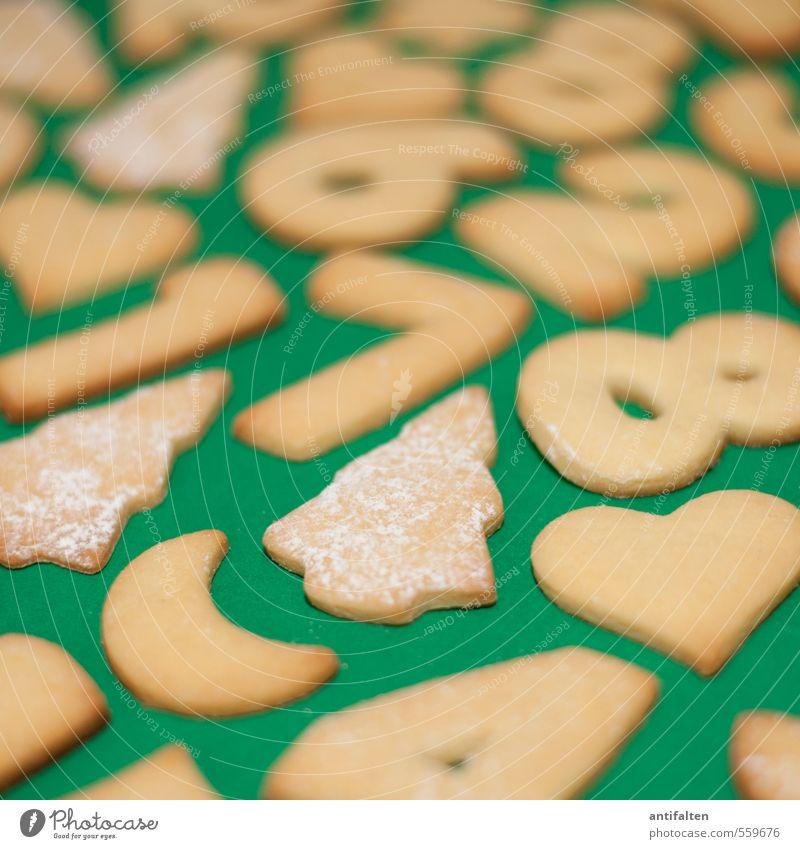 Kekspuzzle II Weihnachten & Advent grün gelb 1 Essen liegen braun 2 Lebensmittel Herz Ernährung Kochen & Garen & Backen Ziffern & Zahlen Zeichen 4 lecker
