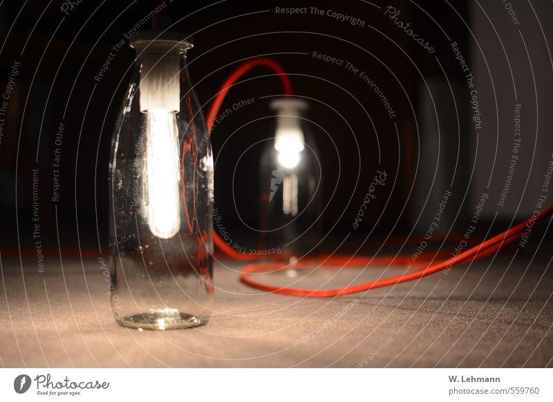 Lampe Sammlerstück Glas außergewöhnlich Billig schön rot Farbfoto Innenaufnahme Menschenleer Textfreiraum links Abend Schwache Tiefenschärfe