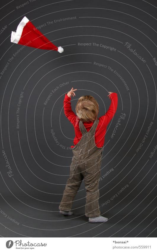 frohe weihnachten Mensch Kind Weihnachten & Advent Freude Leben Junge Spielen klein fliegen wild Kindheit Fröhlichkeit Mütze Kleinkind Leichtigkeit werfen