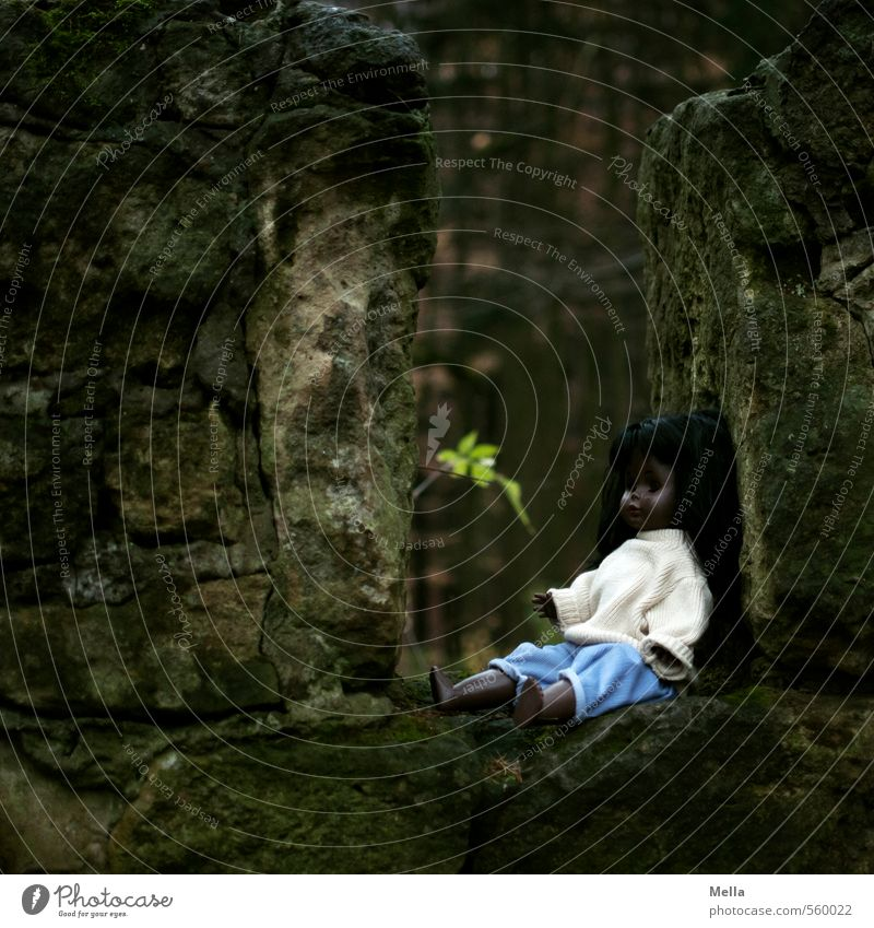 Monika in den Wäldern Umwelt Natur Blatt Wald Bauwerk Mauer Wand Spielzeug Puppe Stein sitzen dunkel gruselig klein trist Endzeitstimmung Gefühle geheimnisvoll