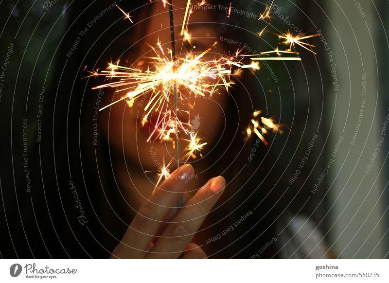 The Spark feminin Junge Frau Jugendliche 1 Mensch 18-30 Jahre Erwachsene Optimismus Erfolg Kraft Neugier Silvester u. Neujahr Wunderkerze Finger Asiate Farbfoto