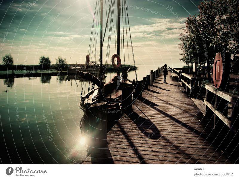 Ahrenshoop Ferien & Urlaub & Reisen Tourismus Frau Erwachsene 1 Mensch Wasser Himmel Wolken Horizont Baum Sträucher Fischerdorf bevölkert Bootsfahrt Segelboot