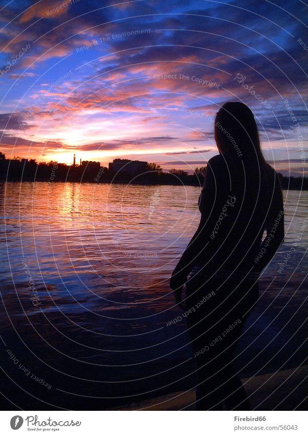 silhouette Frau Wasser Himmel Farbe Rhein