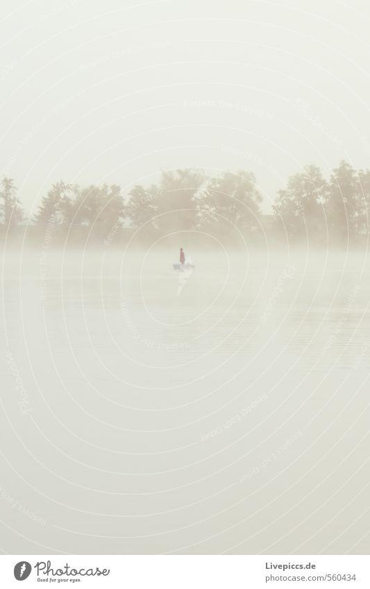 ...im Trüben fischen Mensch Himmel Natur Wasser Pflanze Baum Landschaft ruhig Wolken Umwelt Herbst See Wetter Freizeit & Hobby maskulin Nebel