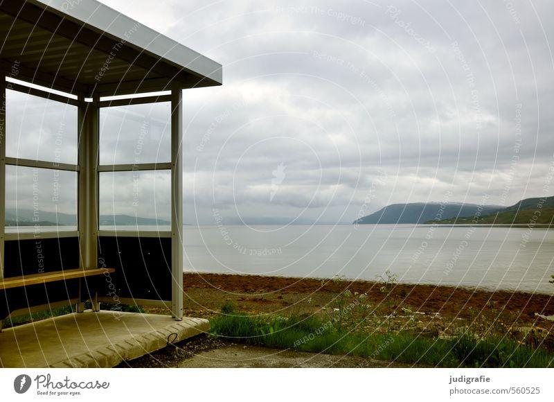 Norwegen Umwelt Natur Landschaft Wasser Himmel Wolken Klima Küste Fjord Meer Bushaltestelle Verkehrsmittel Öffentlicher Personennahverkehr Busfahren
