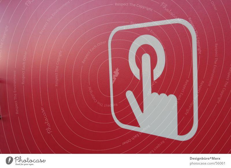 Push the button Hand weiß rot Wand Finger verrückt rund Symbole & Metaphern Knöpfe Schalter Piktogramm Ikon Oval