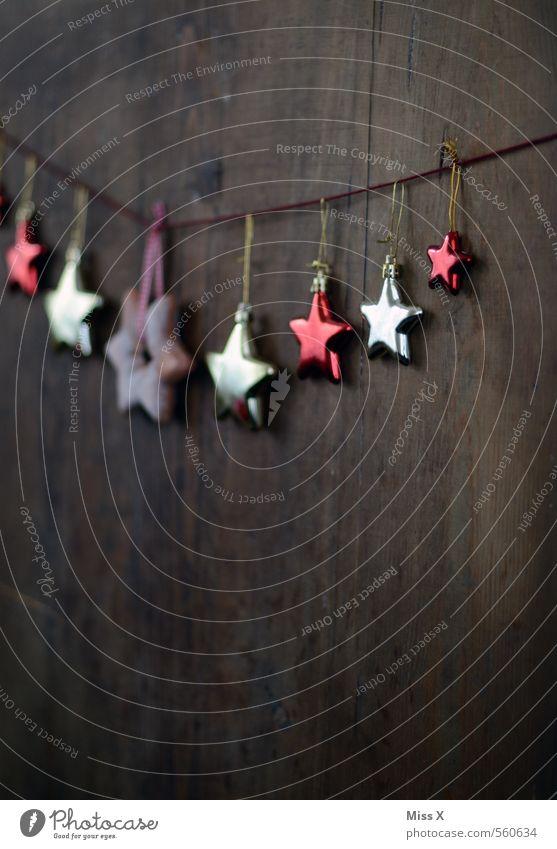 Sternchen Dekoration & Verzierung Weihnachten & Advent Tür Holz glänzend gold rot Stern (Symbol) Weihnachtsdekoration Baumschmuck Christbaumkugel