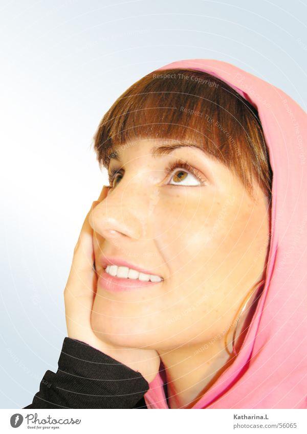 me one Frau Gesicht lachen rosa Vertrauen Schwärmerei Kapuzenjacke