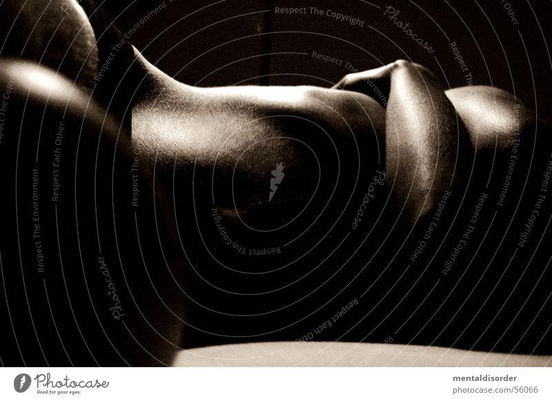 belly and arm Torso Frau nackt braun Hand Arme Erotik Haut Bauch Brust liegen Akt feminin Weiblicher Akt Frauenkörper Low Key Vor dunklem Hintergrund