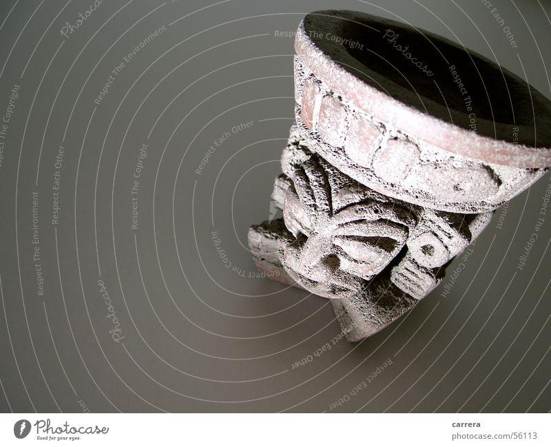 Die Geister die ich rief 2 Gesicht Stein braun Kultur geheimnisvoll gruselig böse hart Mexiko unheimlich grimmig Hochkultur Steinfigur Azteken Opfergefäß