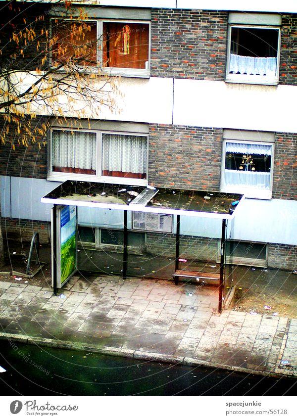 Bushaltestelle Wasser Baum Haus Einsamkeit Fenster dreckig Hochhaus Asphalt Müll Gardine