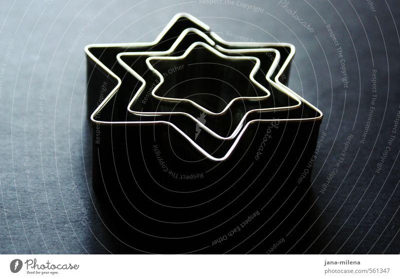 Stars blau Weihnachten & Advent schwarz dunkel grau Kunst Metall glänzend ästhetisch Stern (Symbol) Postkarte silber Plätzchen Laster Weihnachtsstern