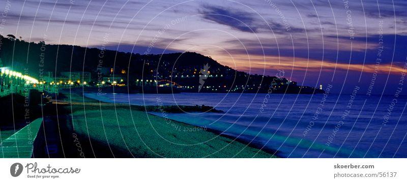 Nice at sunrise Sonne Meer Strand Ferien & Urlaub & Reisen Wolken Küste Horizont Cote d'Azur Laterne Sonnenaufgang Straßenbeleuchtung Nizza