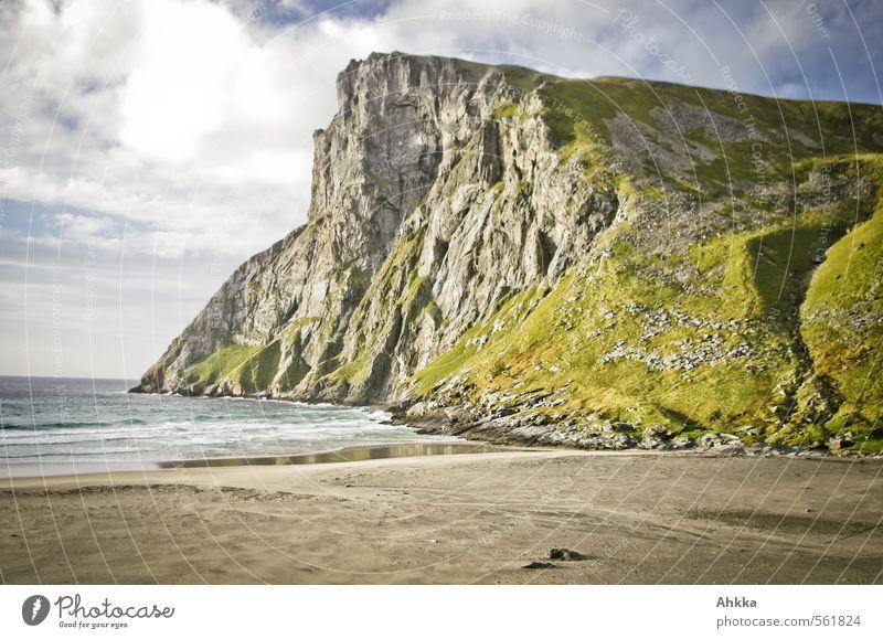 massiv Natur Erholung Einsamkeit Landschaft ruhig Strand Ferne Wiese Küste Freiheit Glück Stimmung Wellen Schönes Wetter Energie Abenteuer