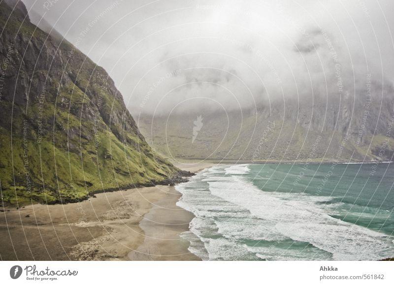 tief einatmen Natur Ferien & Urlaub & Reisen Meer Einsamkeit Landschaft ruhig Strand Ferne Küste Zeit Stimmung Nebel wild Klima frei Abenteuer