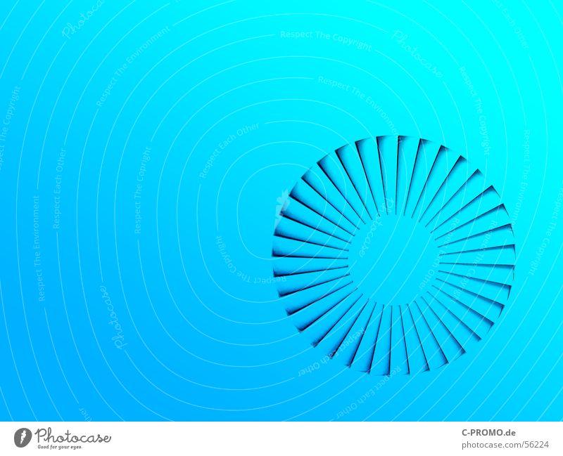 blue is in the air blau Farbe rund türkis Decke Verlauf abstrakt Lüftung Klimaanlage
