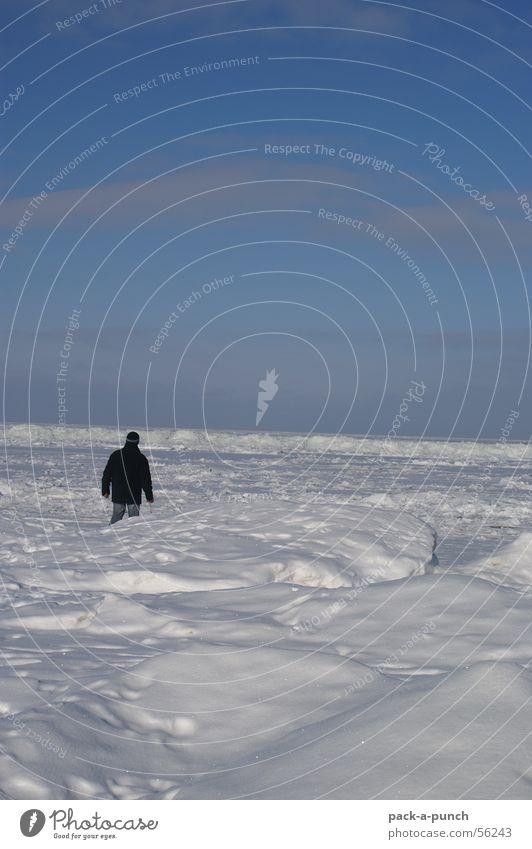 Eiswüste Mann Winter Ferne Eis Horizont gefroren Jahreszeiten Ostsee Packeis