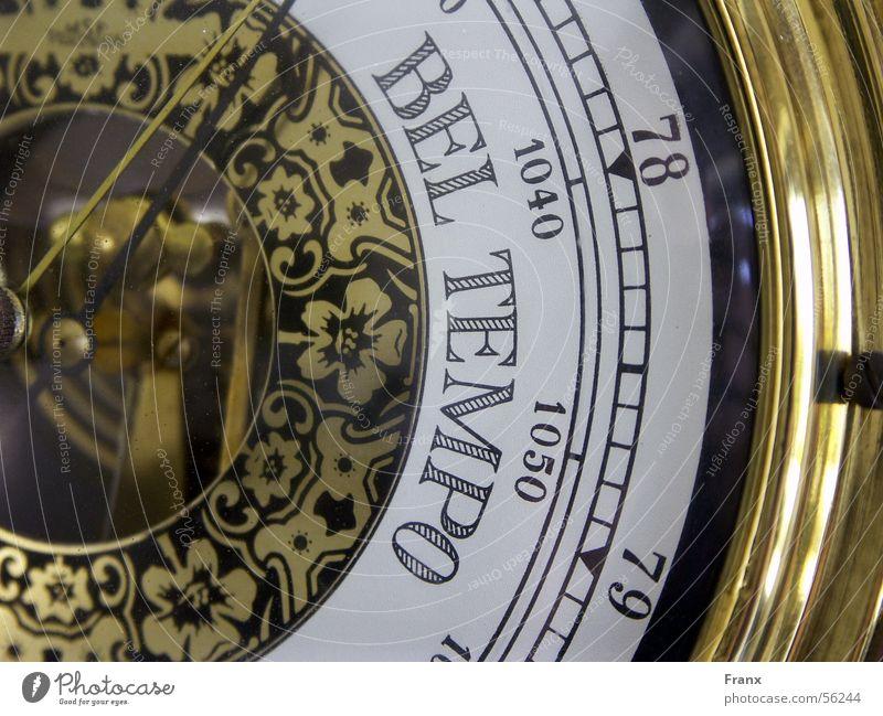 Wetter- Barometer Sonne Regen gold Geschwindigkeit antik Anzeige vorhersagen Vorschau
