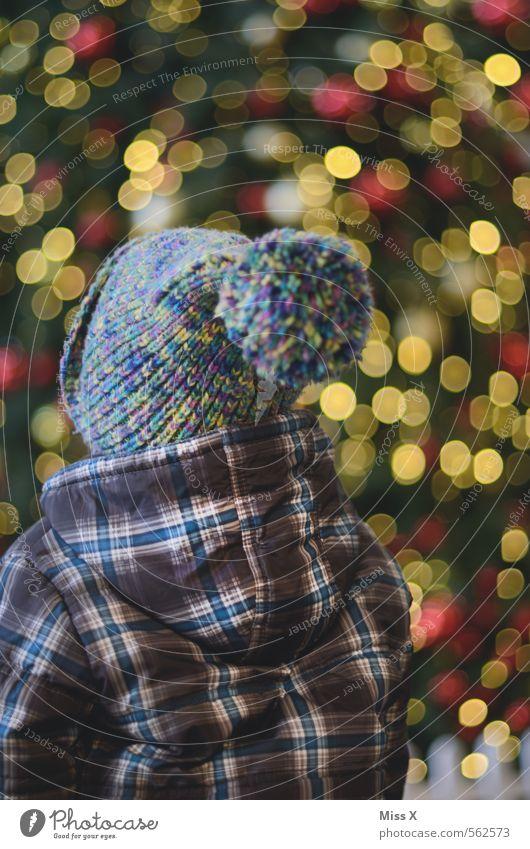Staunen Mensch Kind Weihnachten & Advent Gefühle feminin Feste & Feiern Stimmung maskulin glänzend Kindheit leuchten Neugier Mütze Weihnachtsbaum Kleinkind