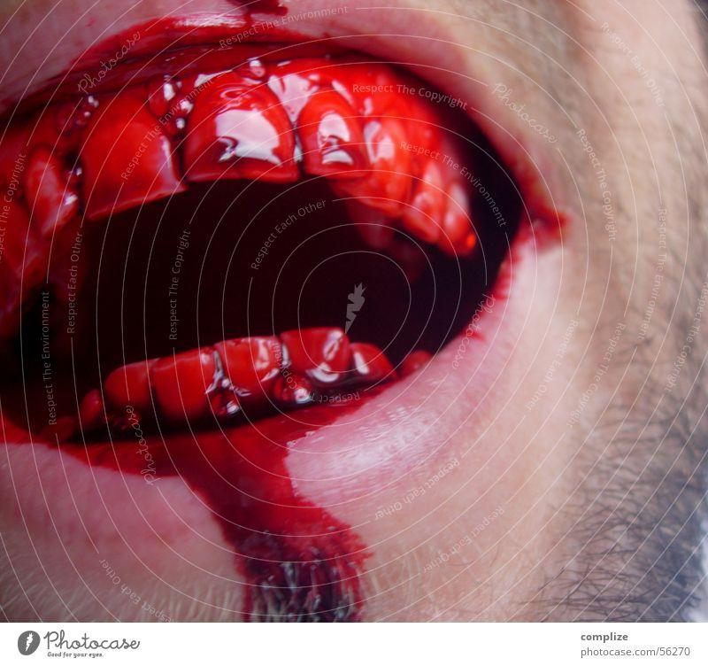 schlag doch! Mann Erwachsene Mund Zähne Bart lachen Ekel gefährlich Respekt Gewalt Wunde Zahnlücke Menschenfresser obskur Blut Männermund Anschnitt