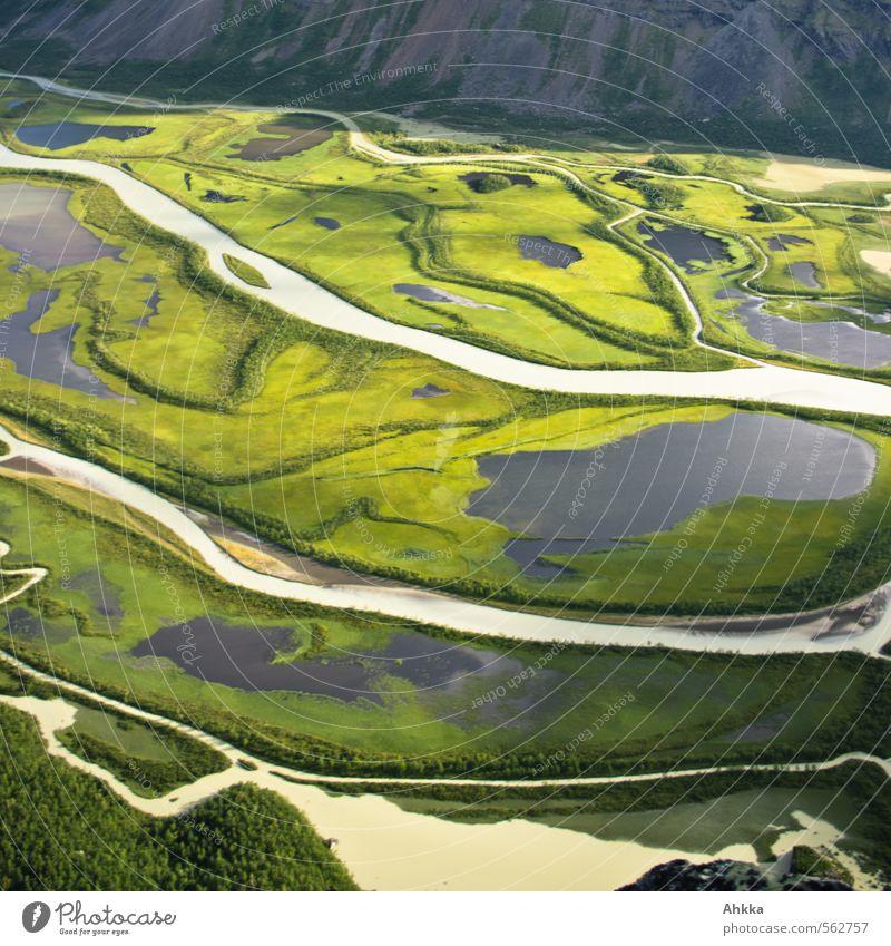 Wasserflüsse im Rappadalen Natur grün Farbe Landschaft Leben Wege & Pfade Gesundheit Linie Stimmung Kraft wild Abenteuer fantastisch Lebensfreude Unendlichkeit