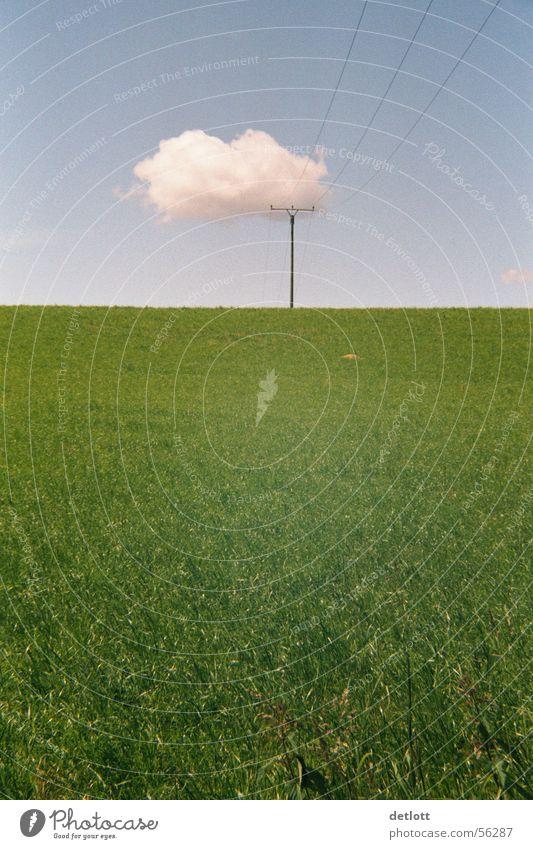 Wolkenkrücke Strommast grün Horizont Spielen Elektrizität Schönes Wetter Sommer sehr wenige ruhig Gras Elektrisches Gerät Technik & Technologie Himmel Natur
