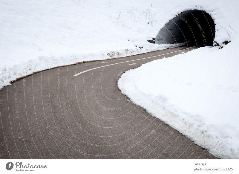Hinein Umwelt Natur Winter Klima Schnee Verkehr Verkehrswege Wege & Pfade Tunnel Kurve fahren einfach kalt Ziel Farbfoto Gedeckte Farben Außenaufnahme