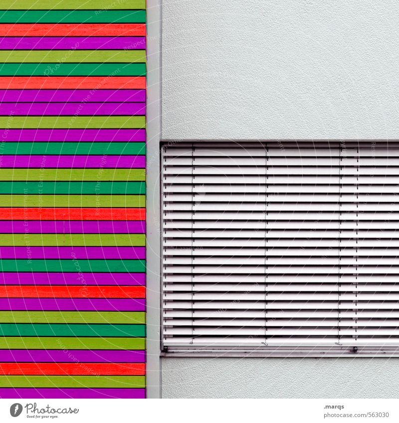 Alles nur Fassade | Bunt Mauer Wand Fenster Jalousie Beton Linie außergewöhnlich einfach trendy verrückt mehrfarbig grau geschlossen neonfarbig Farbfoto