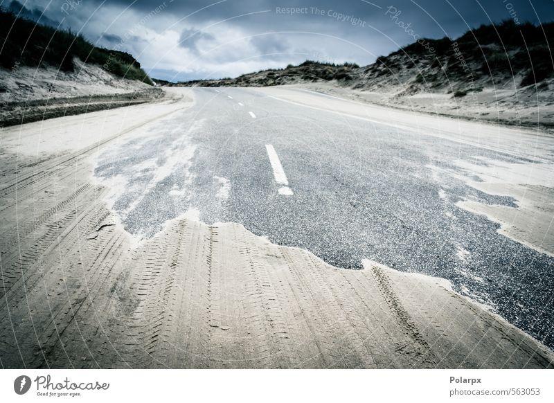 Sandige Straße Ferien & Urlaub & Reisen Strand Umwelt Natur Landschaft Erde Himmel Wolken Horizont Klima Wetter Gras Hügel Küste Wege & Pfade Autobahn Beton