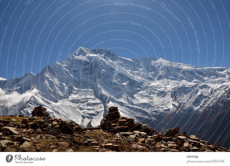 Nepal II Ferien & Urlaub & Reisen Abenteuer Berge u. Gebirge wandern Natur Landschaft Himmel Sonnenlicht Schnee Felsen Annapurna II Gipfel Schneebedeckte Gipfel