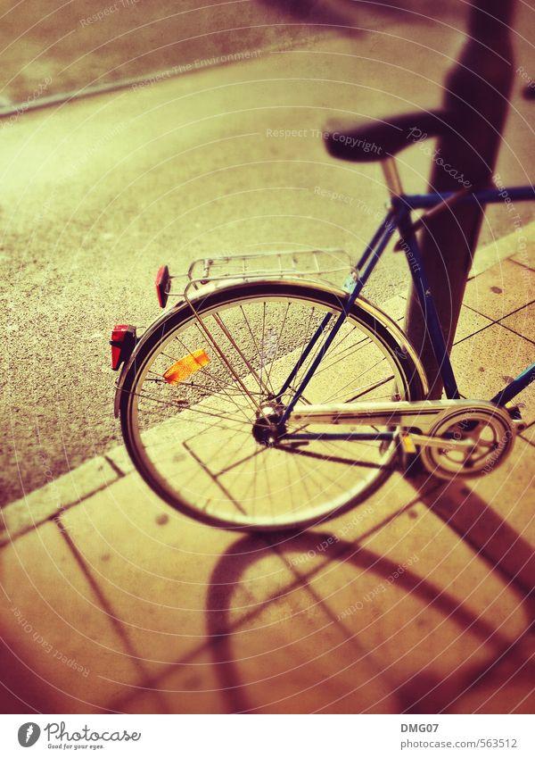 Bike Stadt Sonne Straße Wege & Pfade Stil Lifestyle Fahrrad retro Fahrradfahren Güterverkehr & Logistik Straßenbeleuchtung Bürgersteig Dorf Stadtzentrum