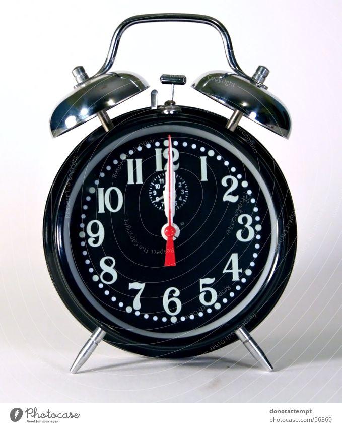 Wecker schwarz Uhr Kreis abgelegen Alarm Mitternacht Tick