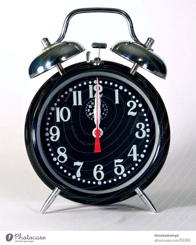 Wecker schwarz Uhr Kreis abgelegen Wecker Alarm Mitternacht Tick