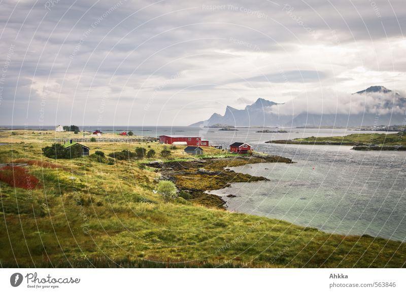 kalter Hauch Natur Meer Einsamkeit Landschaft Haus Ferne Berge u. Gebirge Wiese Küste Freiheit Stimmung Zufriedenheit Klima authentisch Sträucher