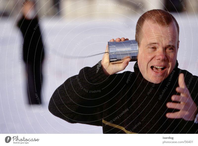 Hallo! Büchsentelefon Telefon sprechen Telefongespräch