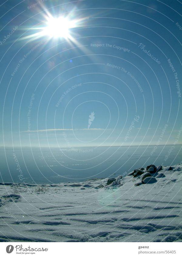 Frühlingsanfang ? Ringkøbing See Meer Beleuchtung Horizont Ferien & Urlaub & Reisen Winter Fjord Dänemark Wasser Nordsee blau Himmel Sonne Schnee Küste