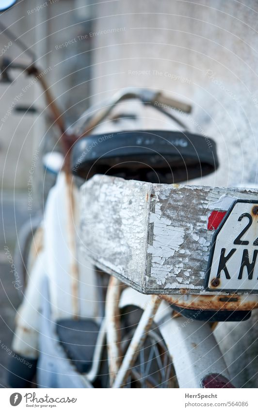 Transportmofa Motorrad Kleinmotorrad alt schön trashig grau weiß Rost Gepäckablage Gepäckträger Holzkiste abblättern Farbstoff geparkt Oldtimer Nummernschild