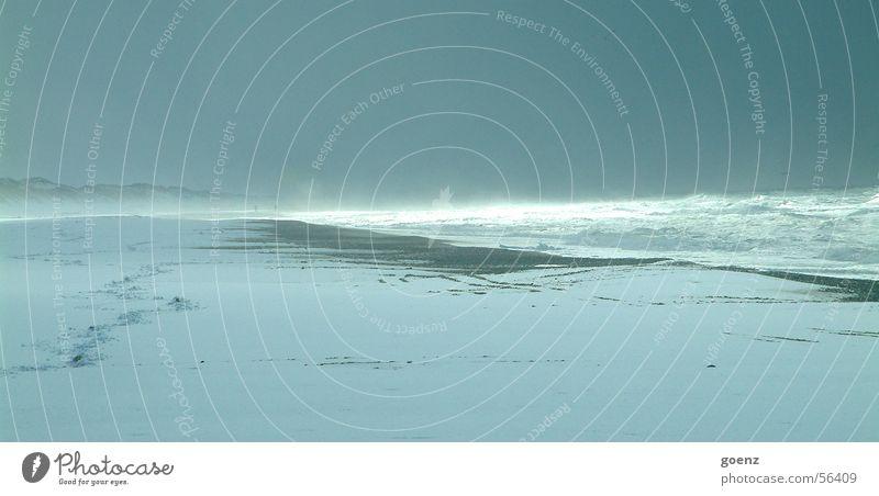 Apokalypse Sonne Meer Winter Einsamkeit Ferne kalt Schnee Wellen Wind Horizont leer Sturm Nordsee wehen Dänemark Schleswig-Holstein