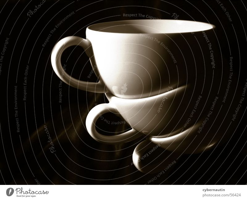 gestapelte Tassen braun Kaffee Küche Geschirr Stapel Tragegriff
