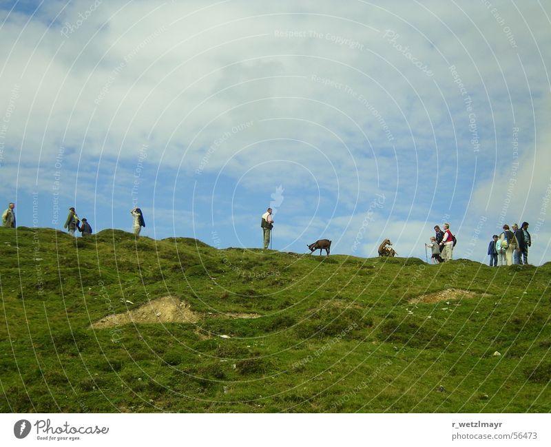 Nach dem Berggottesdienst auf der Postalm bei Bad Ischl Mensch Himmel Mann Natur blau grün Ferien & Urlaub & Reisen Tier Wolken Erwachsene Ferne Umwelt Landschaft Wiese Berge u. Gebirge Gras