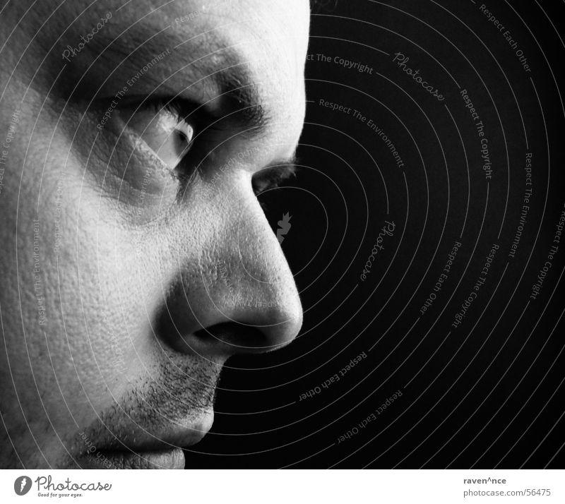schwarz-weißer Blick Porträt Silhouette Bart Gesicht Auge Nase Mund Profil Haut