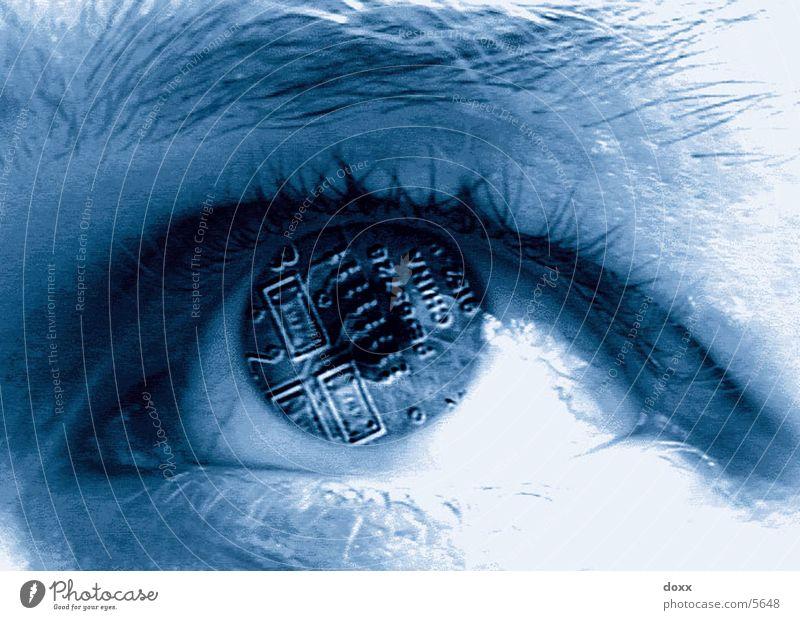 Computereye elektronisch cyber Fototechnik Auge blau