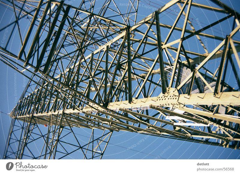 Stahlkoloss Himmel blau Sommer Linie Angst groß hoch Perspektive Energiewirtschaft Elektrizität Luftverkehr Macht Technik & Technologie Flucht Strommast