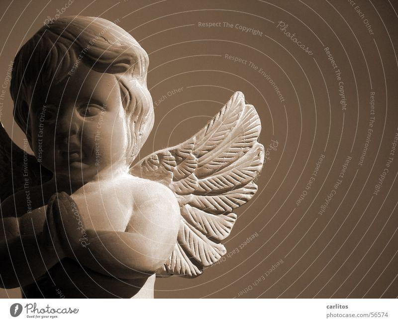 Betender Engel Halbschatten unschuldig Terrakotta Sepia Flügel Gebet Himmel Weihnachten & Advent Religion & Glaube Frieden Trauer Hoffnung Tod Friedhof