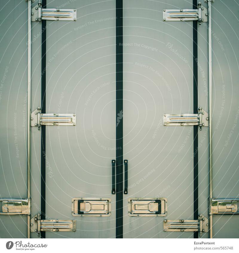 hier ist zu Kunst Verkehr Güterverkehr & Logistik Lastwagen Metall Linie grau weiß Beschläge Schloss Autotür geschlossen Symmetrie viele Farbfoto