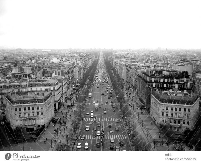Die Welt steht still - Paris ohne Kurven Hauptstraße Frankreich Verkehrsstau chaotisch Stadt Boutique Reichtum Floh schwarz weiß grau Horizont horizontal
